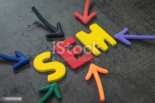 istock SEM Search Engine Marketing, bidding on search result page to promote website online, multi color arrows pointing to the word SEM at the center of black cement chalkboard wall, strategy with SEO 1159334008