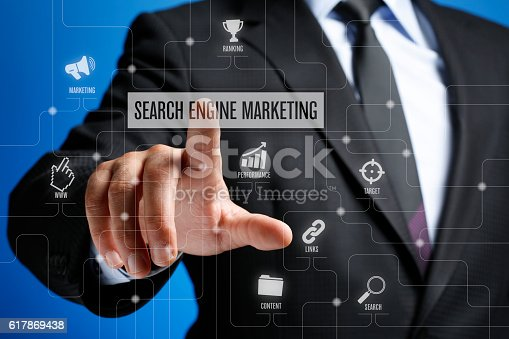 istock Search Engine Marketing Concept on Interface Touch Screen 617869438