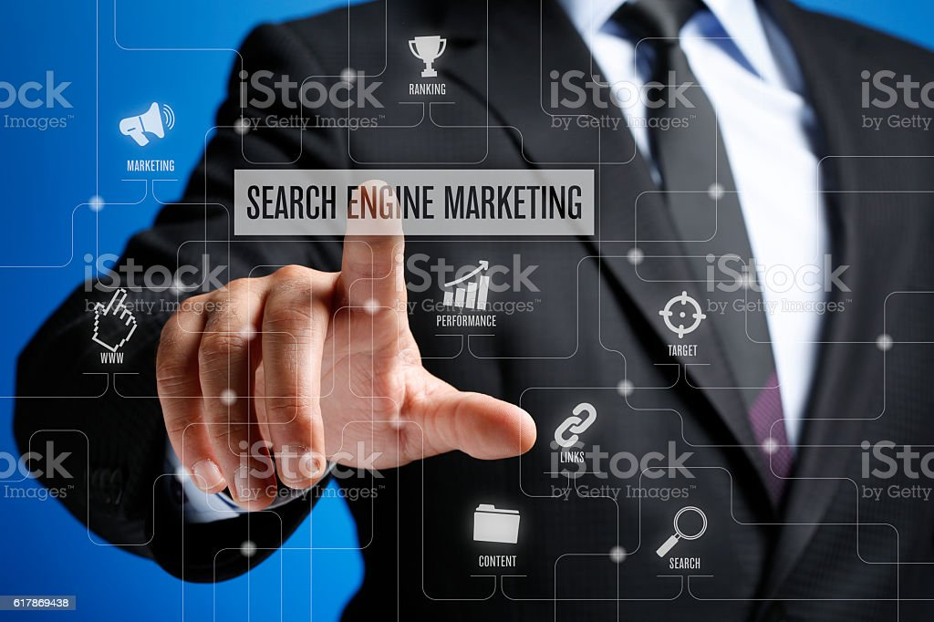 Search Engine Marketing Concept on Interface Touch Screen stock photo