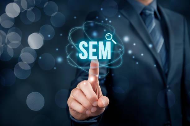 search engine marketing - sem concept - micrografia elettronica a scansione foto e immagini stock