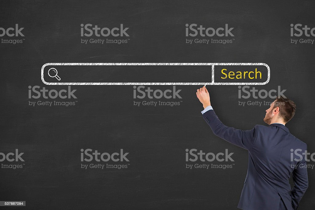 Search Engine on Chalkboard Background stock photo