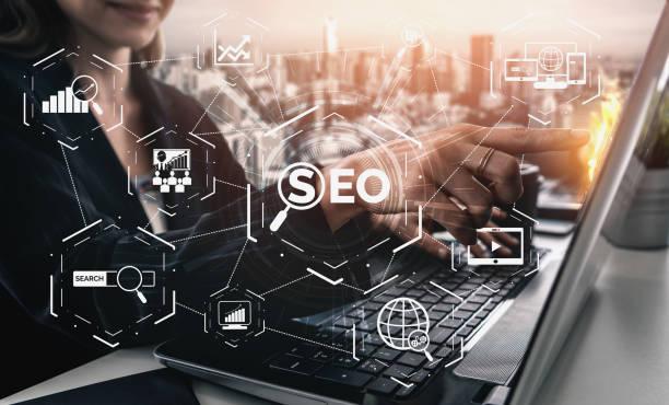 concepto de negocio de optimización de motores de búsqueda seo - seo fotografías e imágenes de stock