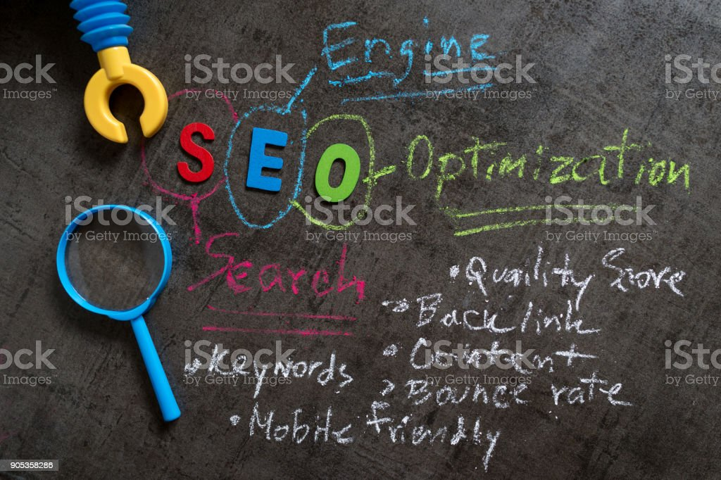 SEO Search engine optimization concept as colorful alphabet SEO, handwriting explanation with color chalk, robot arm and magnifying glass on blackboard wallpaper stock photo