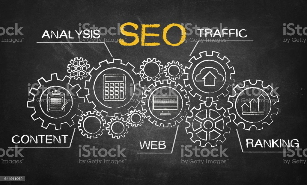 SEO search engine optimization concept stock photo