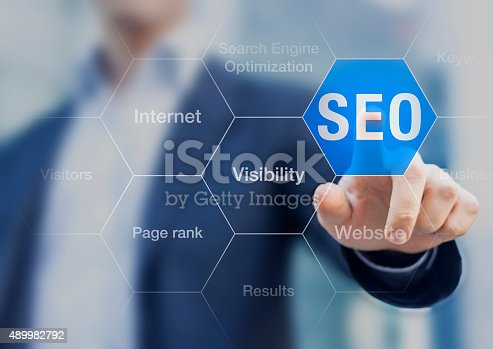 istock Search Engine Optimization consultant touching SEO button 489982792