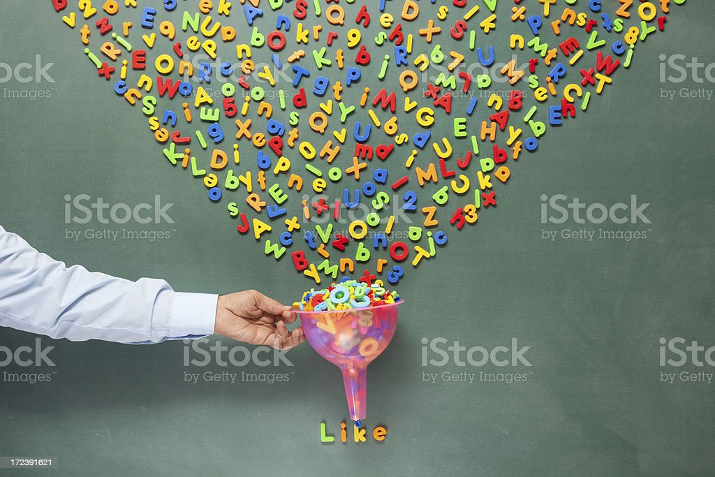 Search engine optimization for social media concept on blackboard royalty-free stock photo