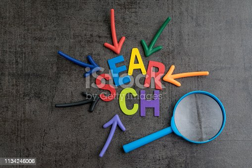 1045434476istockphoto SEO, Search Engine Optimization ranking concept, arrows pointing to magnifying glass with the word Search at the center of cement wall chalkboard, the idea of promote traffic to website 1134246006