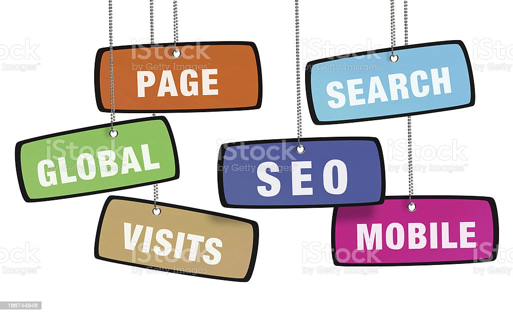Search Engine Optization Colorful Tag (Clipping Path) royalty-free stock photo