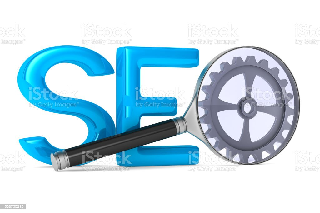 Search Engines Optimization. Isolated 3D image stock photo