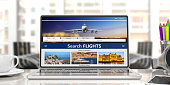 Flights online booking and reservation. Search flights on a computer laptop screen, front view, blur office business background. 3d illustration