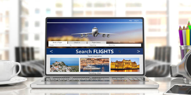 Search flights on a computer laptop screen, front view, blur office business background. 3d illustration Flights online booking and reservation. Search flights on a computer laptop screen, front view, blur office business background. 3d illustration making a reservation stock pictures, royalty-free photos & images