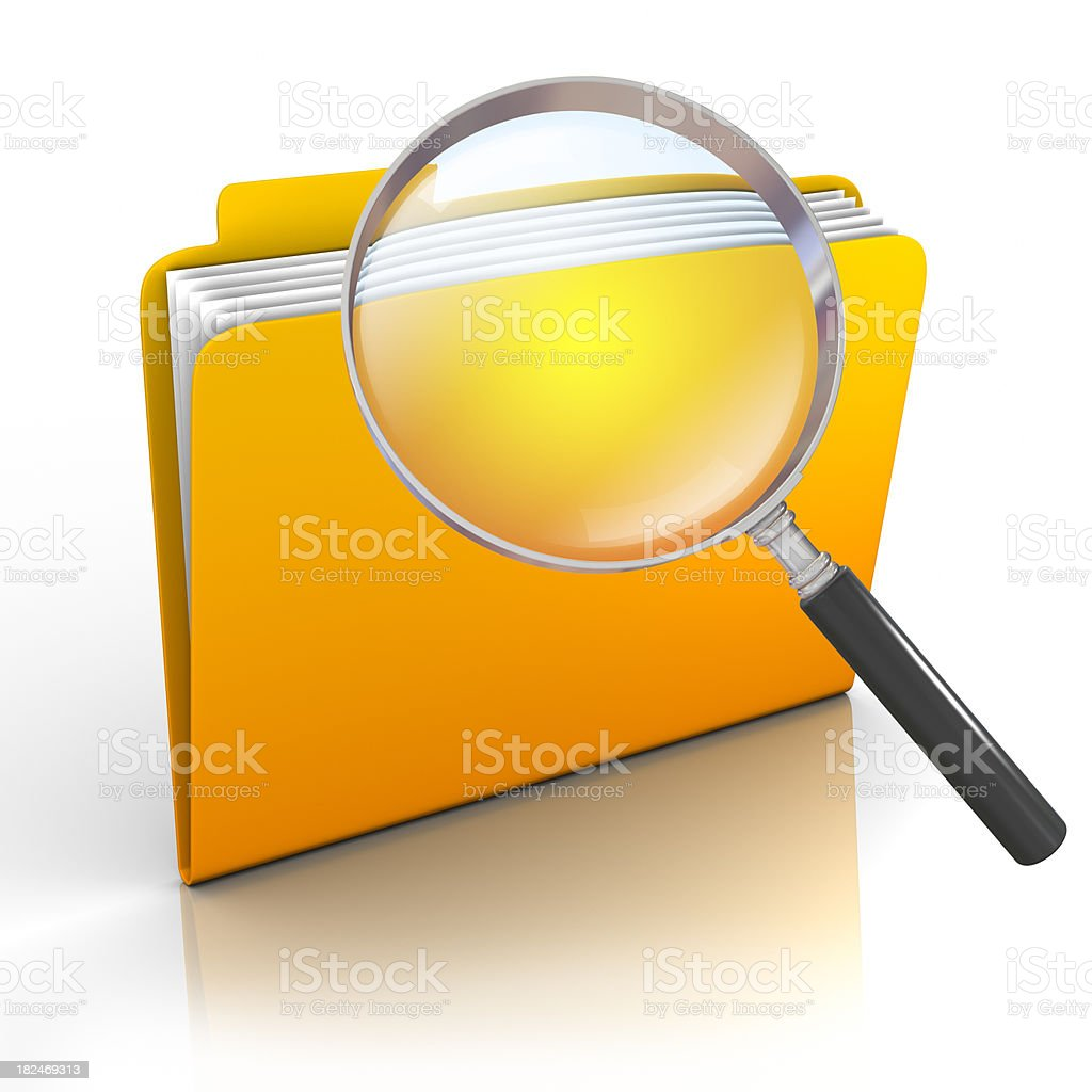 Search folder - isolated on white with clipping path stock photo