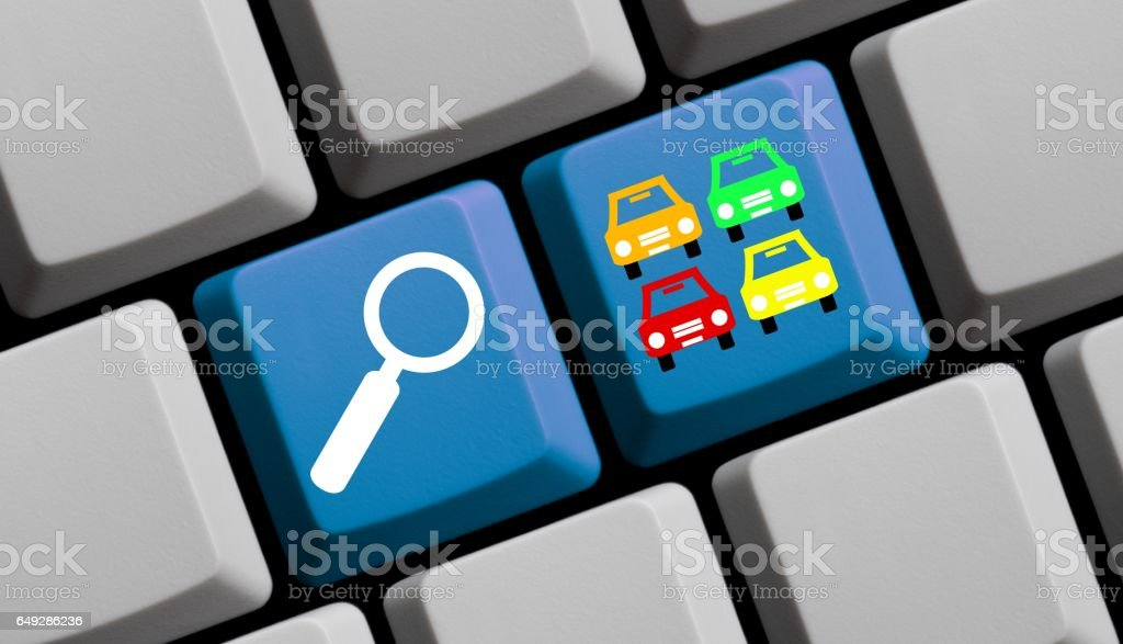 Search for Cars online - Computer Keyboard stock photo