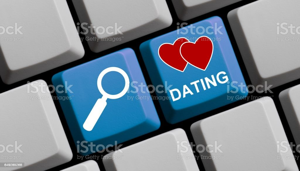 Search for Dating online - Computer Keyboard stock photo