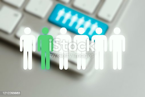 Search for people online - symbols on computer keyboard