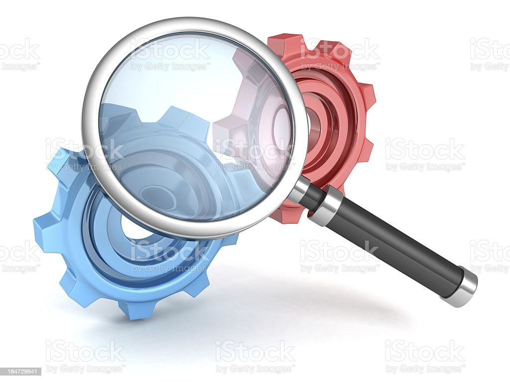 search magnifier glass with colorful connected work gears royalty-free stock photo