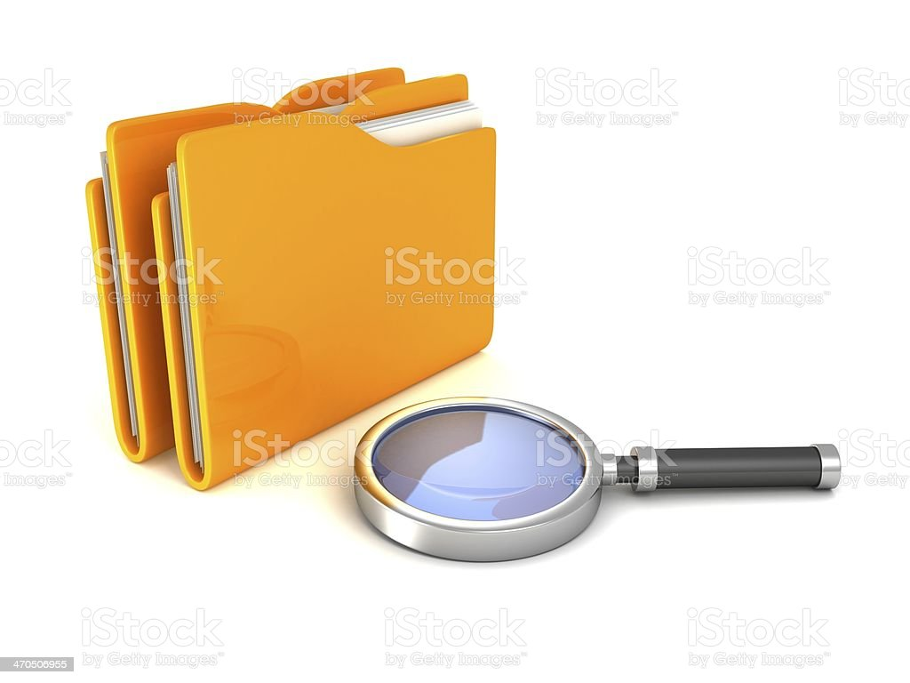 Search Magnifying Glass and yellow office file document folders royalty-free stock photo