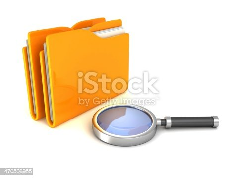 istock Search Magnifying Glass and yellow office file document folders 470506955