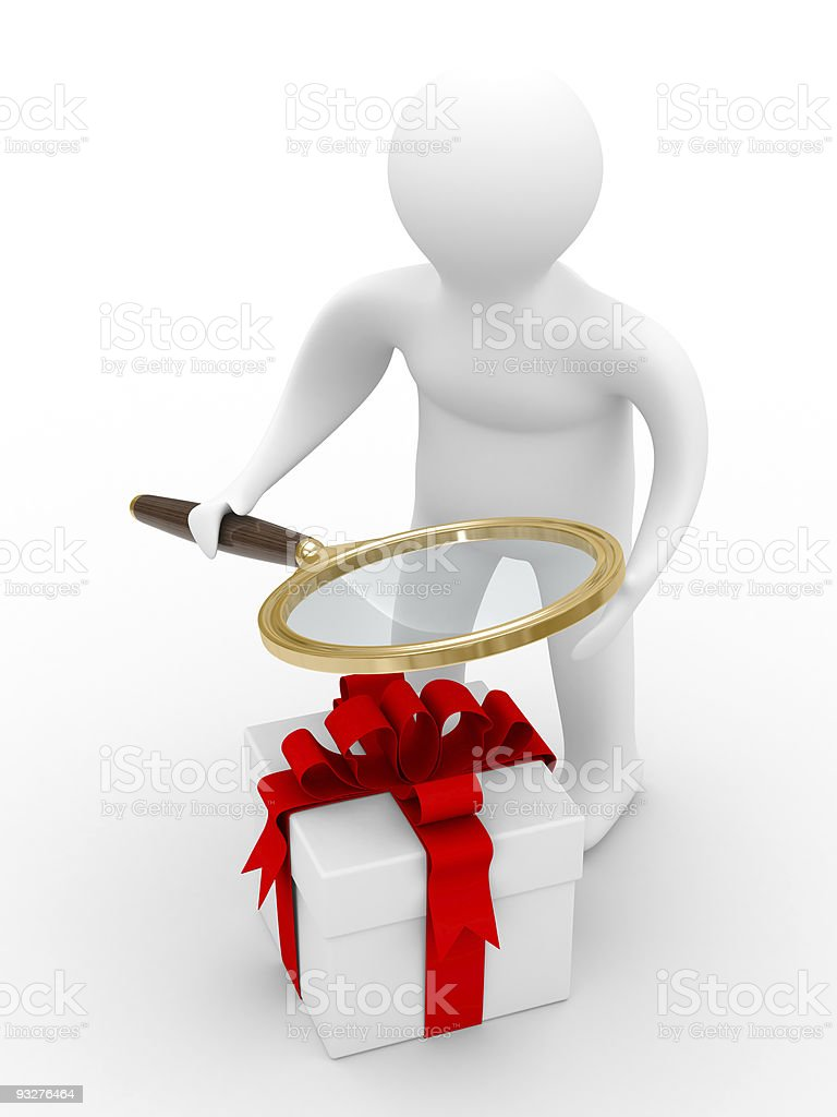 Search of gifts. Isolated 3D image. White background royalty-free stock photo