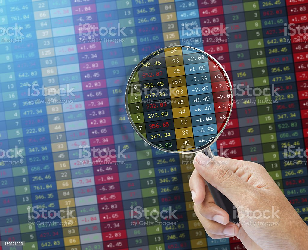 Search of stock market on a monitor. royalty-free stock photo