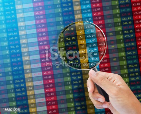 Search of stock market on a monitor. Finance data concept.