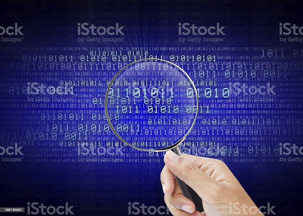 Search of the information in computer digital stock photo