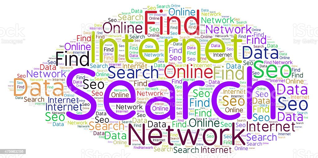 Search on the Internet - word cloud stock photo