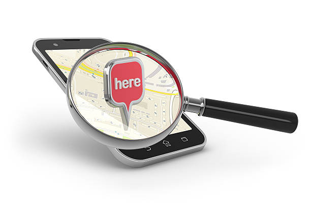 Search on the map. stock photo