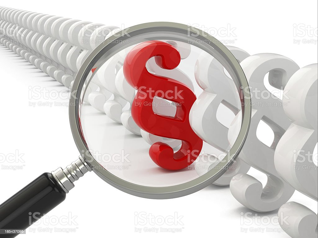 Search paragraph. Loupe and law symbol. royalty-free stock photo