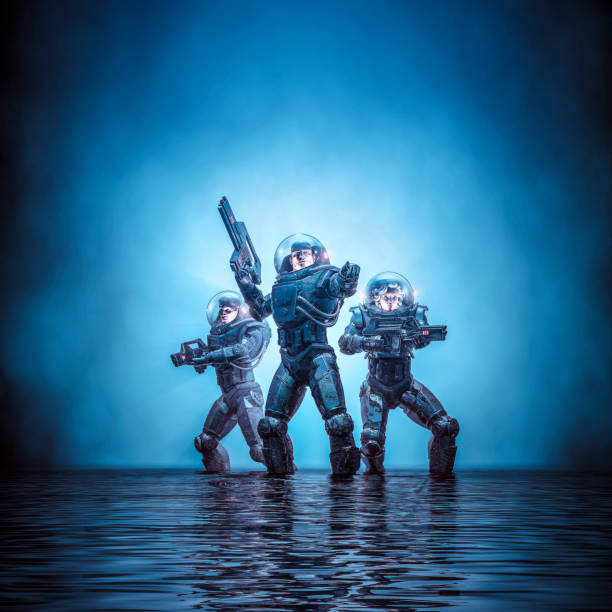 Search party patrol 3D illustration of science fiction scene showing heroic space marine astronauts with laser pulse rifles in dark watery environment trooper stock pictures, royalty-free photos & images
