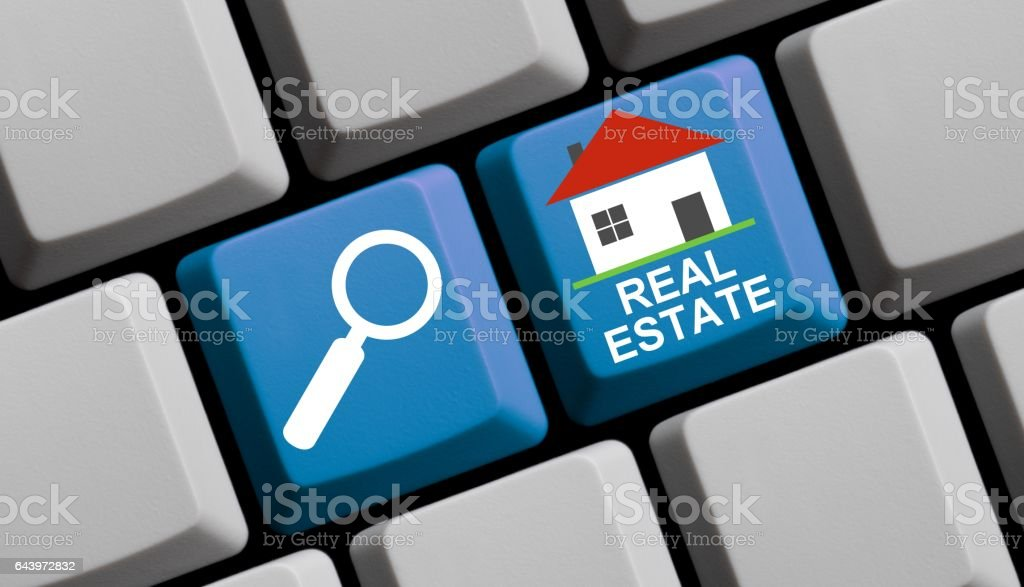 Search Real Estate online - Computer Keyboard stock photo