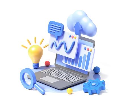 Analytics information tools. 3d illustration.