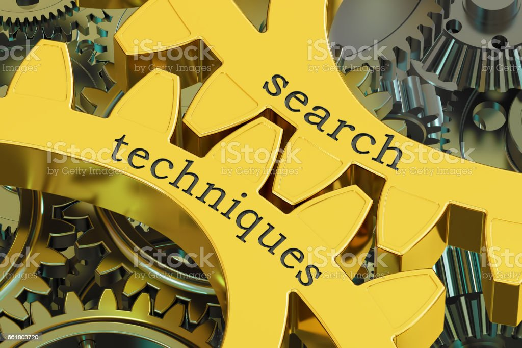 search techniques concept on the gearwheels, 3D rendering stock photo