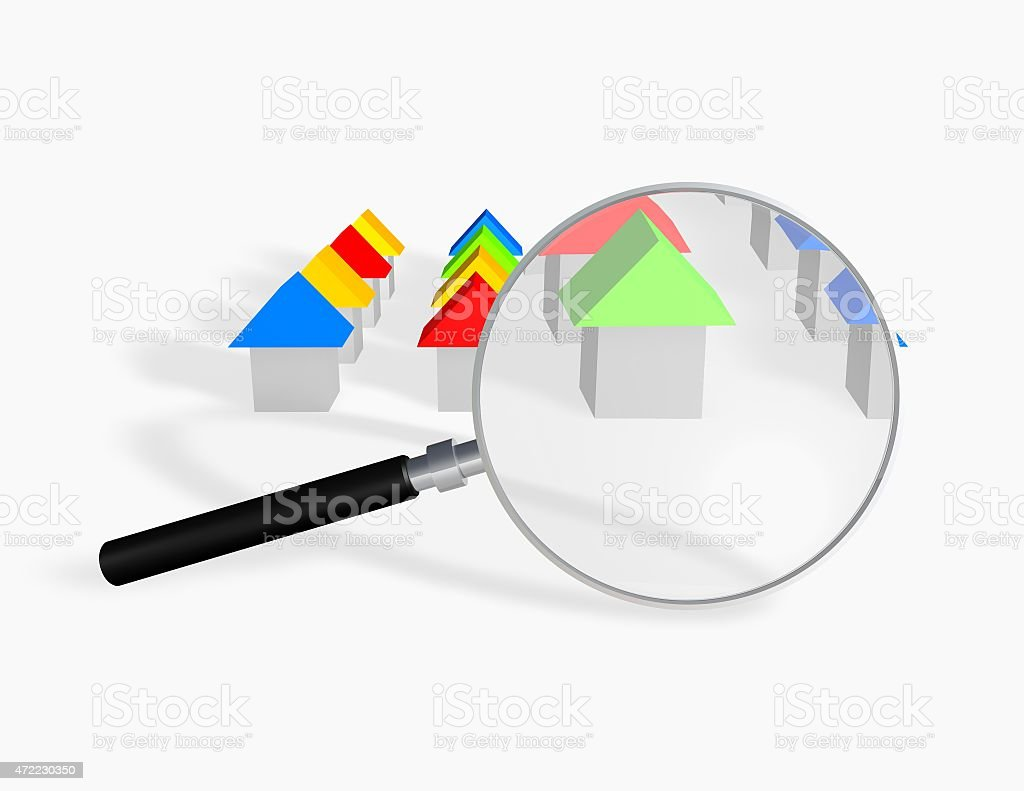 Searching a house concept illustration with 3d houses stock photo