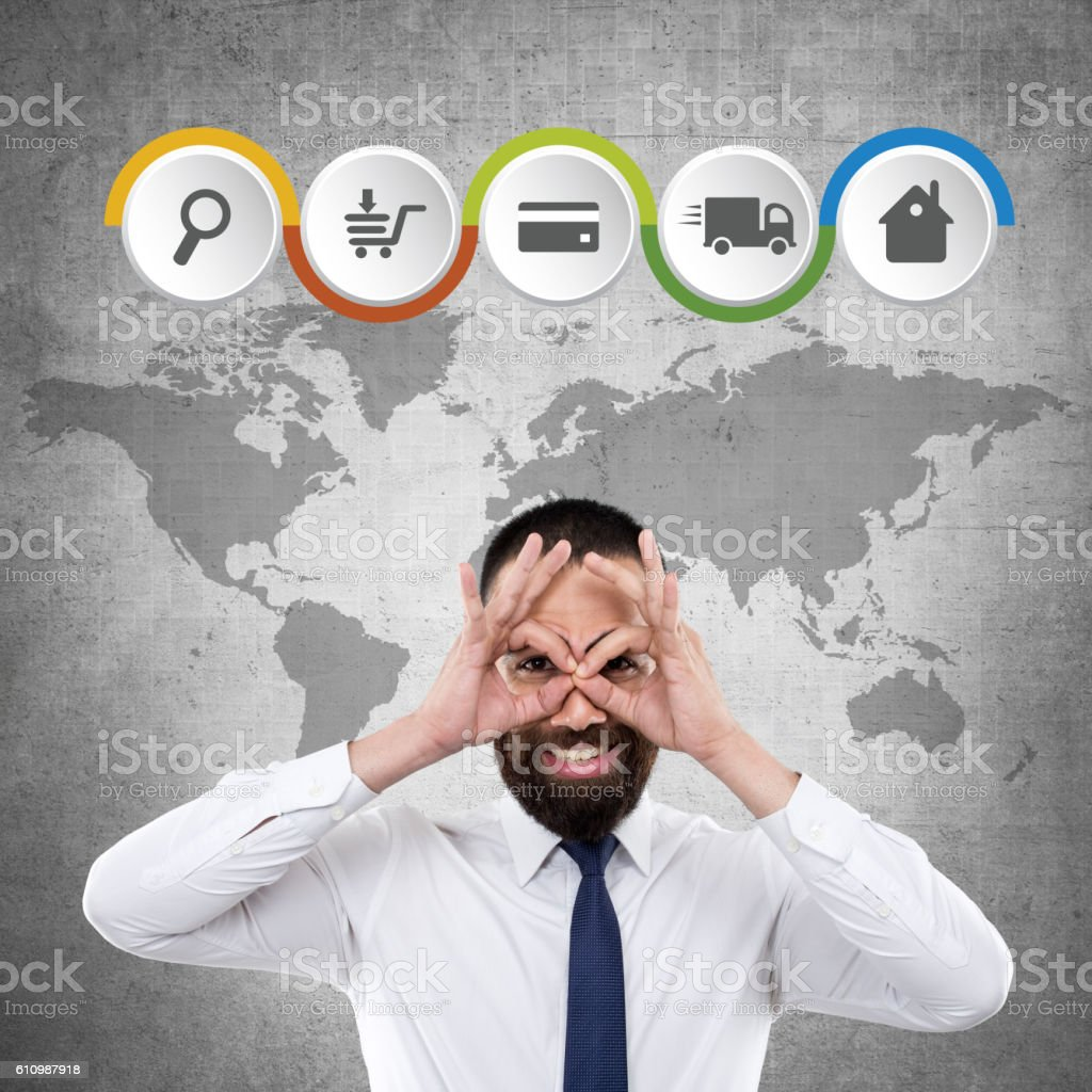 Searching and buying online stock photo