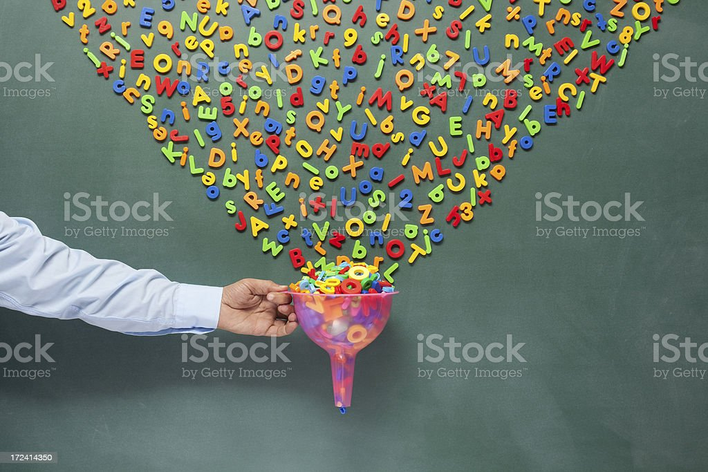 Searching And Filtering Words On Blackboard Via Funnel stock photo