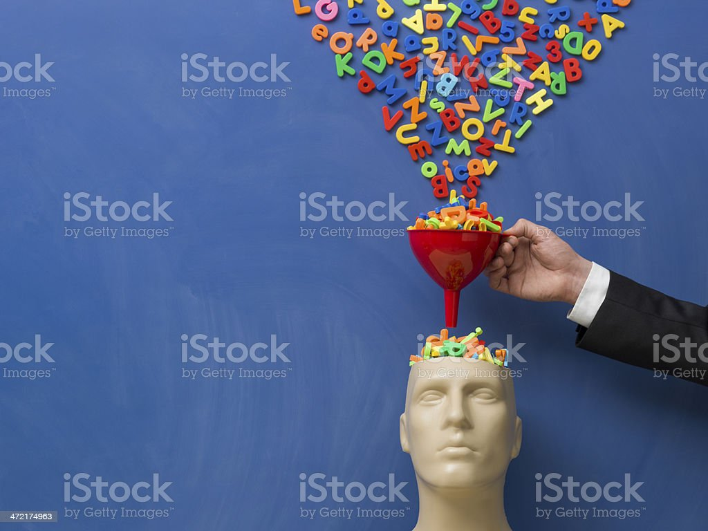 Searching and filtering words on plastic mannequin head royalty-free stock photo
