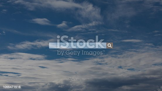 Searching, browsing, Internet data information, over sky background with soft clouds