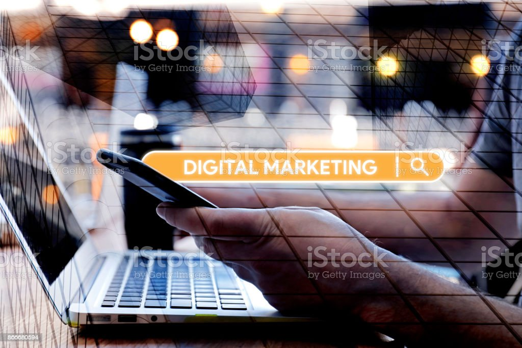 Searching Digital Marketing word on Internet stock photo