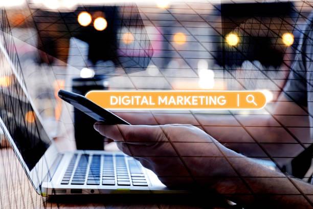 Searching Digital Marketing word on Internet stock photo