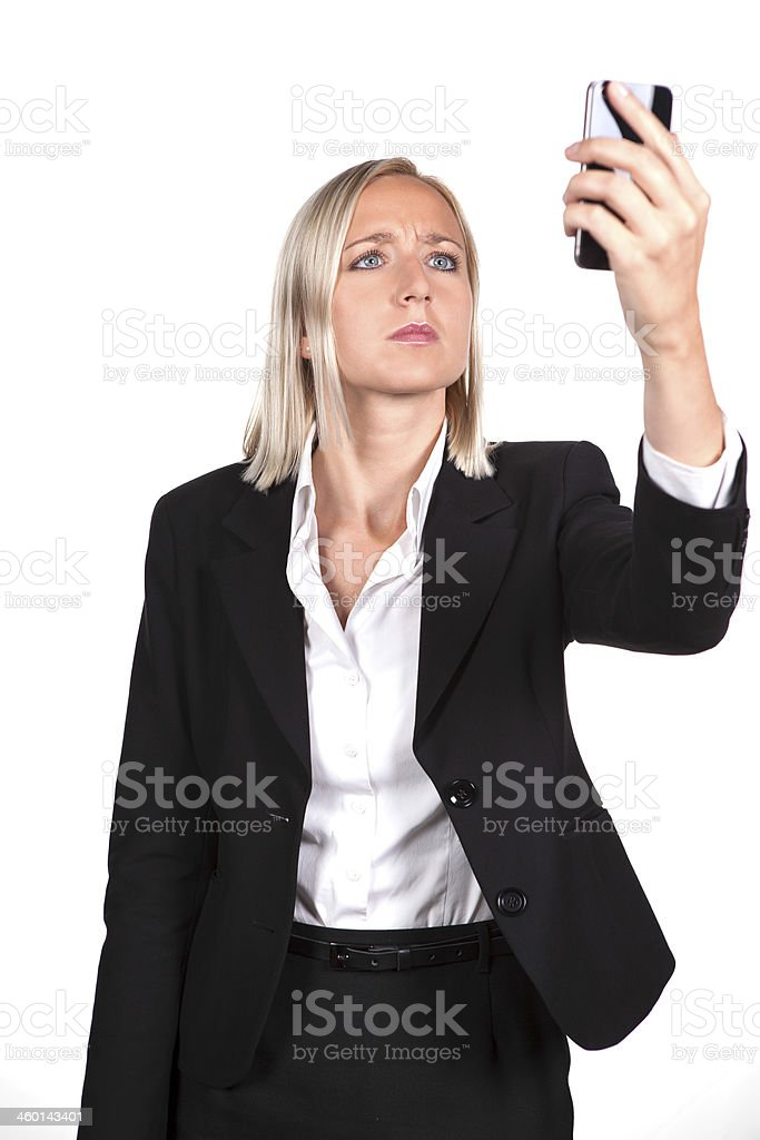 searching female with mobile stock photo