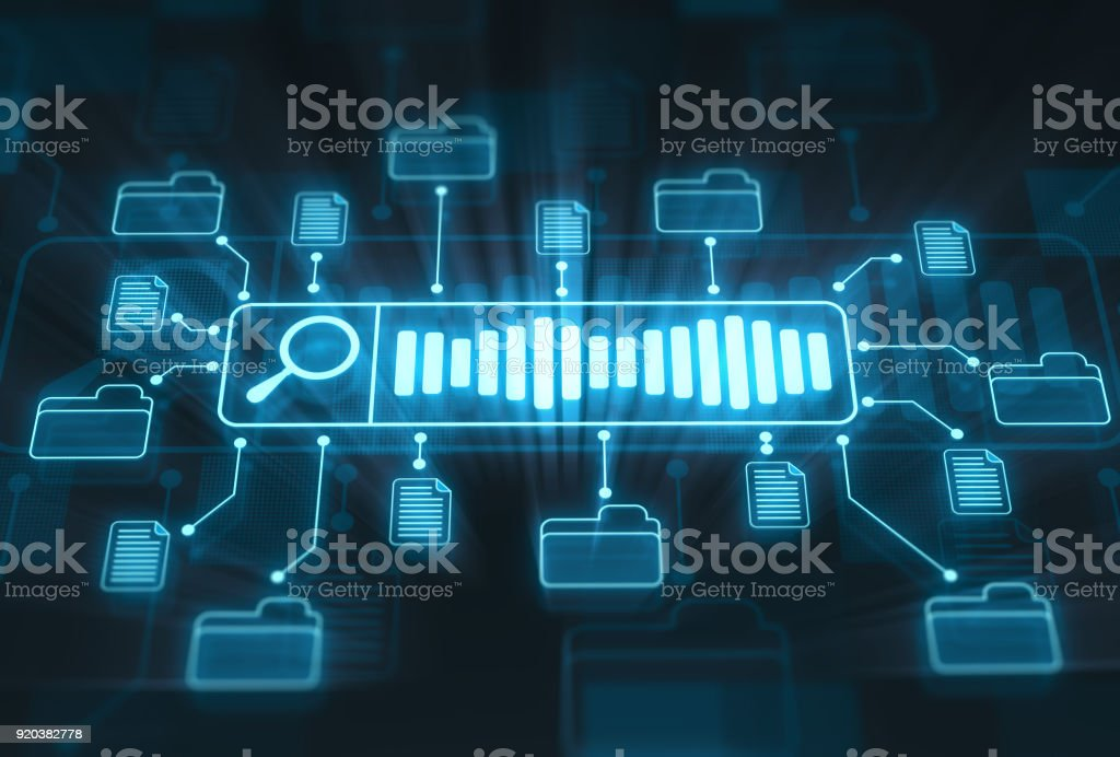 Searching files and documents concept on digital display - foto stock