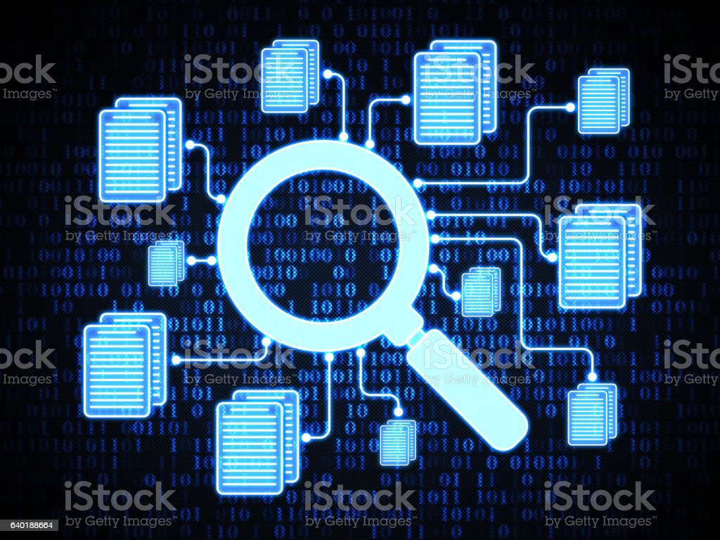 Searching files on digital background stock photo