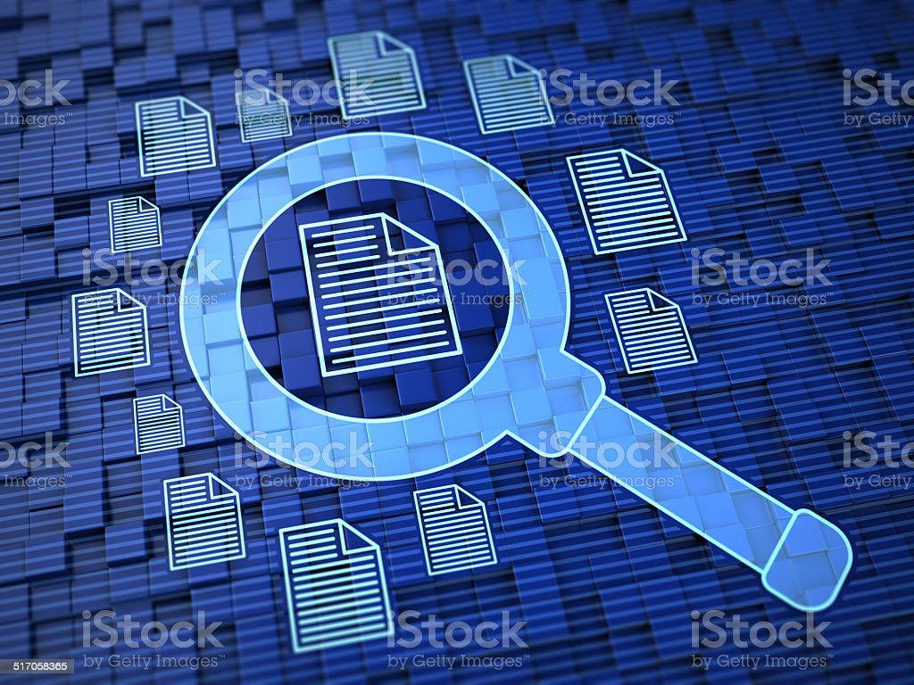 Searching files stock photo
