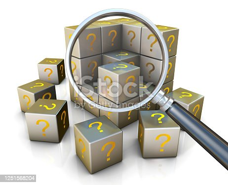 Searching for Cubes and text Question mark