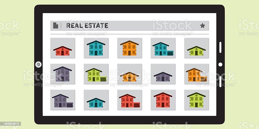 Suche nach Real Estate auf ein Tablet – Foto