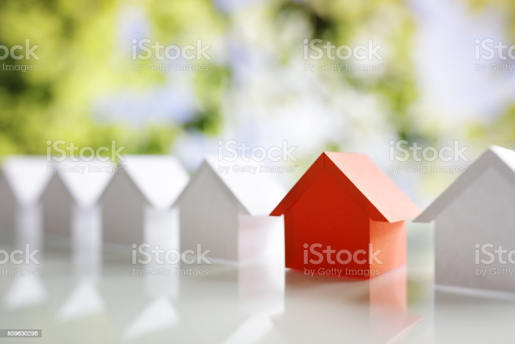 Searching for real estate property, house or new home stock photo
