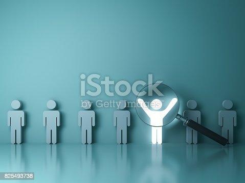 istock Searching for the right person concept, Stand out from the crowd and different concept , Magnifying glass focusing on the light man standing with arms wide open on green wall background. 3D rendering 825493738