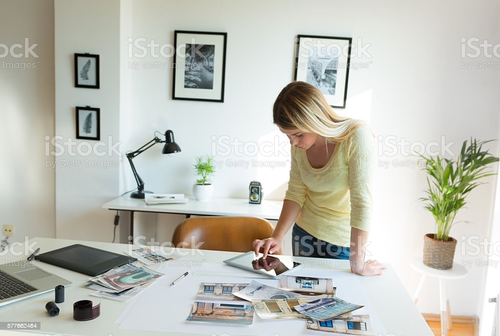 Searching ideas on digital tablet stock photo