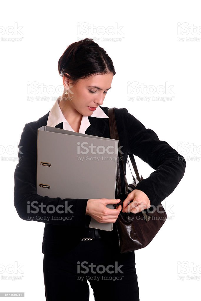 Searching in purse stock photo
